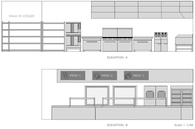 Restaurant floor plan how to create a restaurant floor plan see restaurant kitchen floor plan restaurant kitchen elevation plan malvernweather Gallery