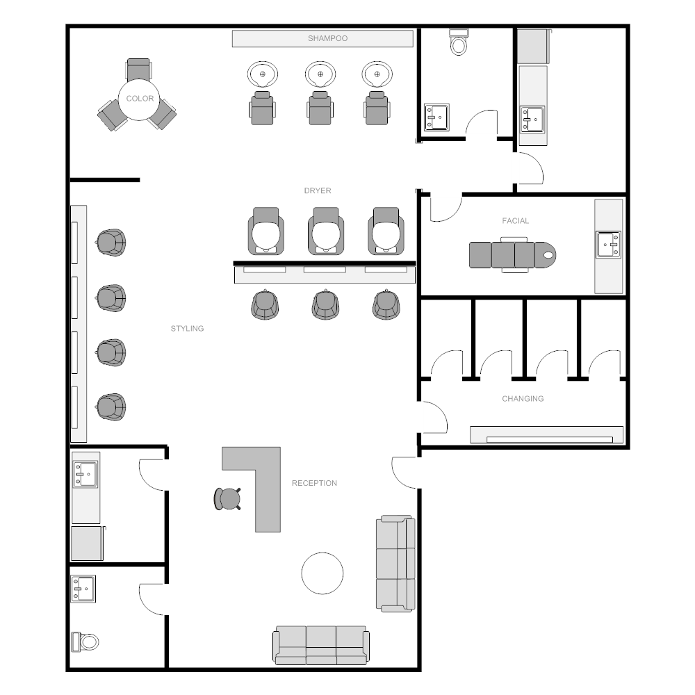 Salon floor plan for Beauty salon layout