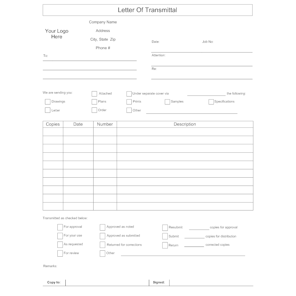 Letter of Transmittal Form – Example Letter of Transmittal