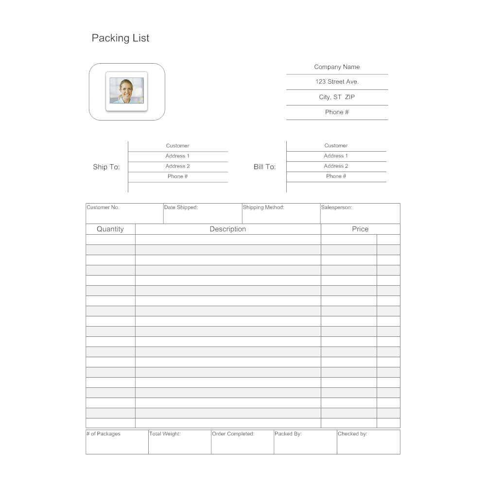 template for packing list