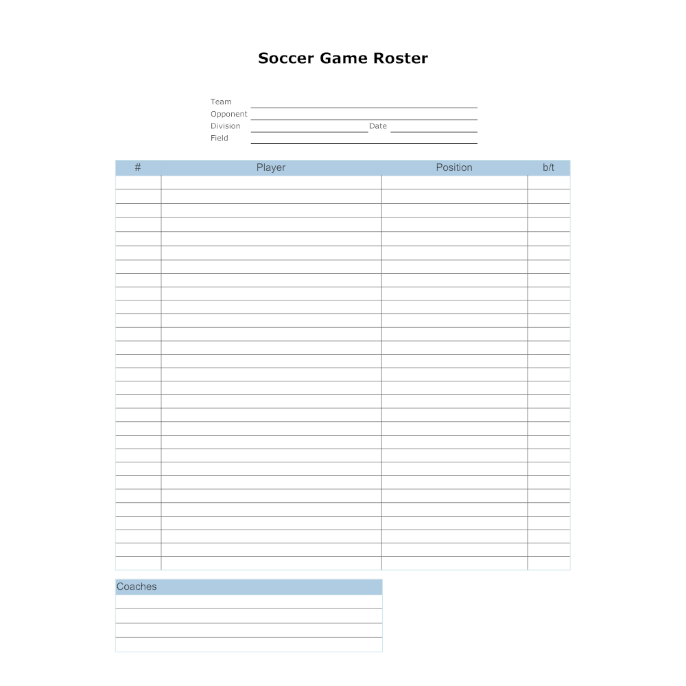 Soccer game roster template for Sports team roster template