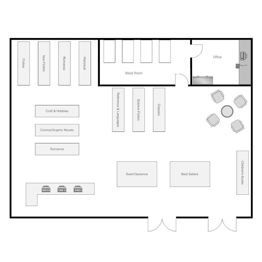 Bookstore layout Edit floor plans online
