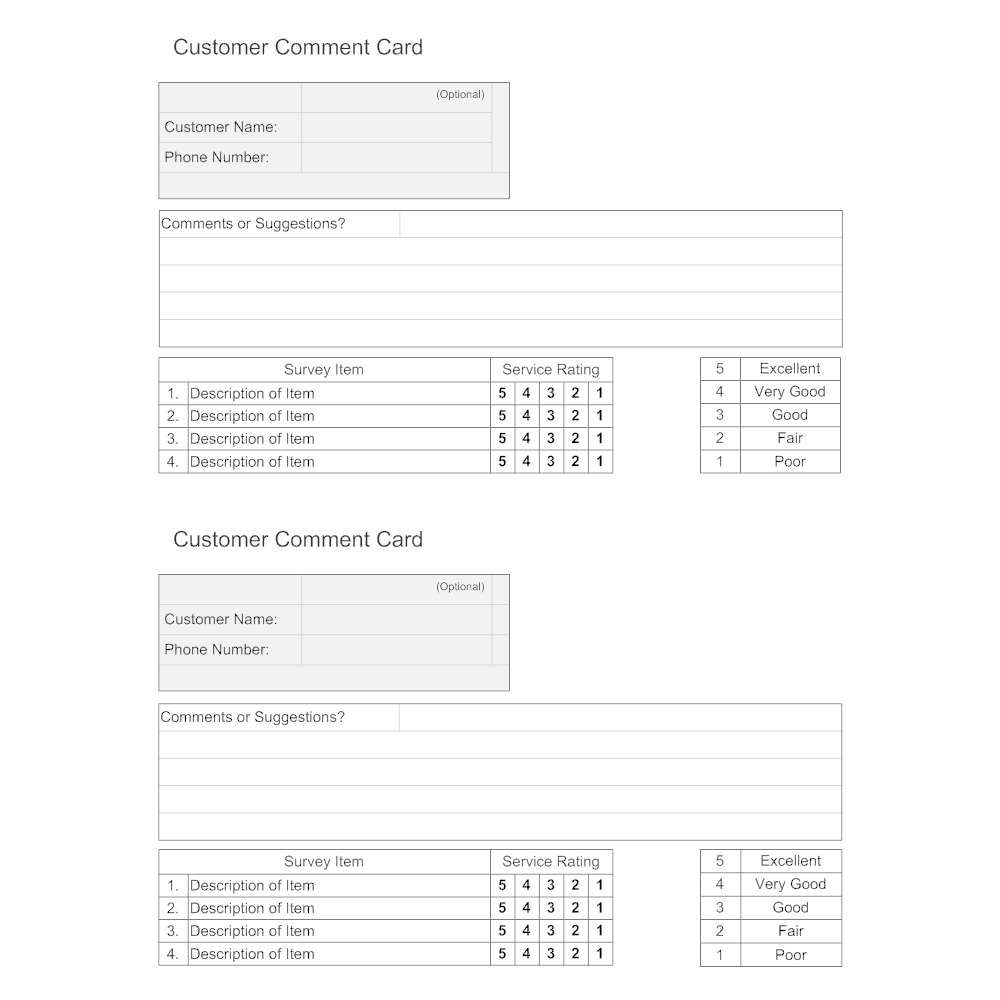 Text In This Example Customer Comment Card