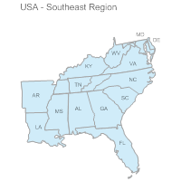 Map Of The United States Southeast Region My Blog Organized Crime